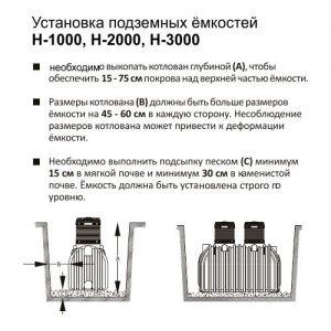 Установка подземных ёмкостей Н-1000, Н-2000, Н-3000